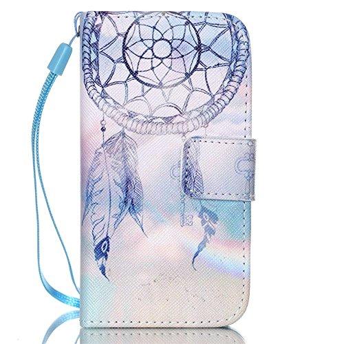 KATUMO® Handyhülle für iPhone 4, [Flip Book Case] PU Leder Wallet Case Handytasche Schutzhülle für Apple iPhone 4/4S Lederhülle Etui Schale mit Standfunktion Function,Fantasie Campanula