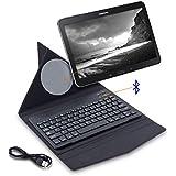 """kwmobile Funda fina inteligente origami con teclado bluetooth QWERTY para 10"""" Tablet con soporte - funda protectora para tablet en negro - compatible por ej. con Apple, Samsung"""