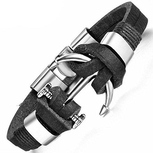 Bracciale Male Charm braccialetto ecopelle metallo polso ancora accessori uomo