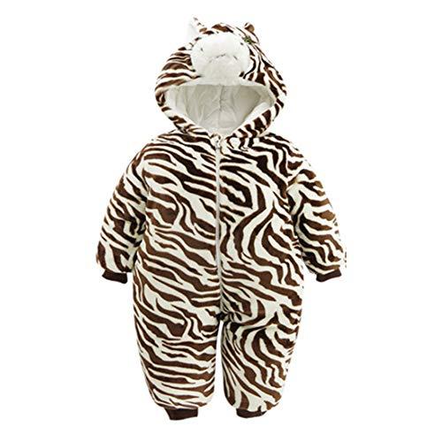 Unisex Baby Winter-Overall mit Kapuze, Einteiler, Fleece, Einteiler, Schneeanzug Outfits Halloween Cosplay Kostüm, zebra, 80cm(9-12M)