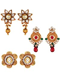 Om Jewells Traditional Ethnic Combo Of Chic Three Earrings With Crystals Stones For Women CO1000003