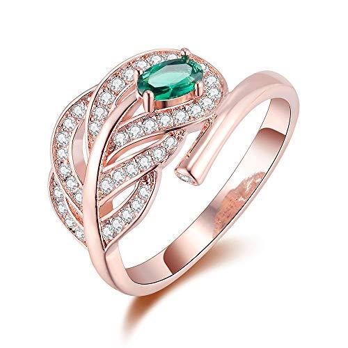 Garyxiyi anello di moda anello in oro rosa placcato in argento sterling 925 con zirconi cubici per le donne (size : 8)