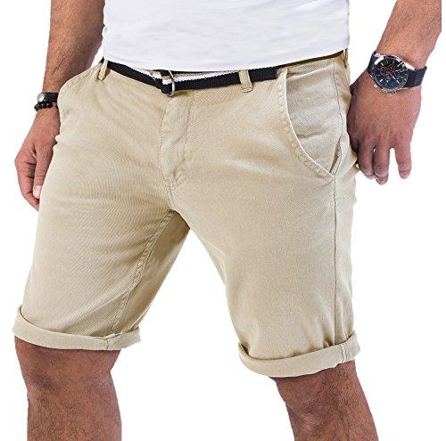 Rock Creek Herren Chino Shorts Hose Kurz Chinoshorts Inkl Gürtel Männer Sommer Bermuda Stretch Rc-2133 36 Beige