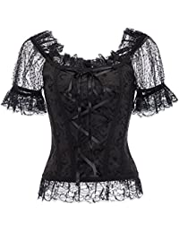 f913038d6a Belle Poque Women s Gothic Steampunk Corset Style Lace Puff Sleeve Jacquard  Tops