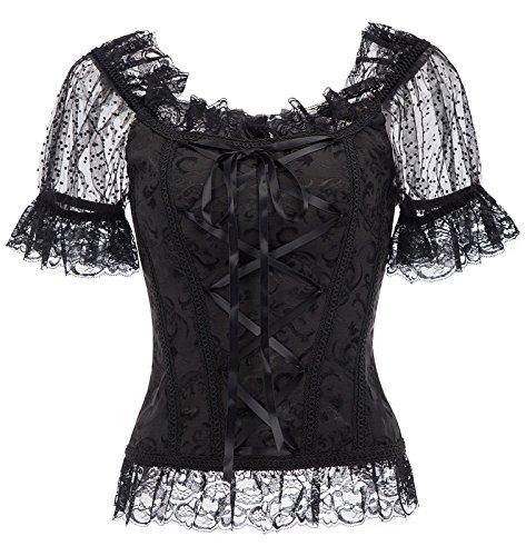 Belle Poque Damen Spitzenbesatz Puff Kurzarm Viktorianische Korsetts Tops Schwarz Größe - Viktorianischen Motto Kostüm