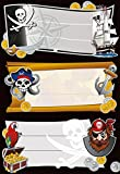 Herma 5543 Buchetiketten Schule, Motiv Piraten, Inhalt: 9 Schuletiketten für Schulhefte, Format 7,6 x 3,5 cm