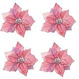 4x Demarkt Weihnachten Deko Blumen ideal als Dekoration für Weihnachtsbaum Hochzeit Rosa 22cm