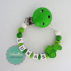 Schnullerkette mit Namen Traktor Gravur Geschenk Taufe Geburt individuell   Junge Grün Namenskette