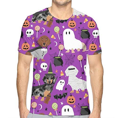 Dackel Halloween Hund Hunde Dackel Halloween Spooky Ghost - Purple_737 Fashion Herren Rundhals Design Camouflage Kurzarm Slim Fit Freizeit T Shirt XL