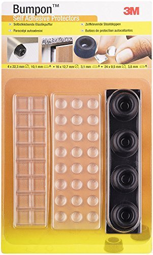 3M bumpontm Stopfen elastische selbstklebend, 44Stück (24x 9,5mm, 16x 12,7mm, 4x 22,3mm) -