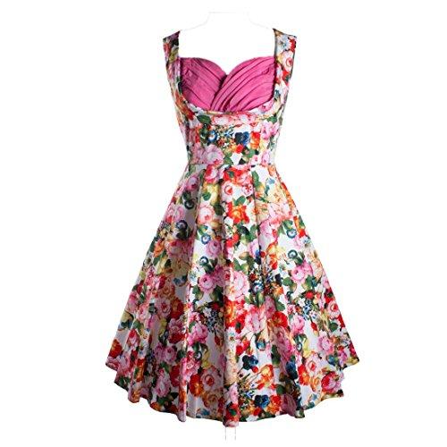 Vintage 1950er 50s Rockabilly Flared Cocktail Picnic Party Swing Kleider Audrey Hepburn Stil (yazaco bunten) Pink