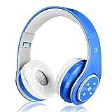 Auricular Bluetooth sin hilos para los cabritos los adultos sonido estéreo venda de los auriculares sobre el receptor de cabeza del oído Bluetooth plegable con el micrófono de Compatible con TV,Smartphones,Android, IPhone, Ipad, IPod, tablillas etc.Azul