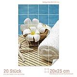 Graz Design 761484_20x25_80 Fliesenaufkleber Seestern/Blüten für Kacheln | Bad-Fliesen mit Fliesenbildern überkleben (Fliesenmaß: 20x25cm (BxH)//Bild: 80x120cm (BxH))