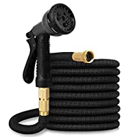Boutique 75FT Expandable Garden Hose Flexible Pipe Expanding with 8 Pattern Spray Gun Heavy Duty (Black)