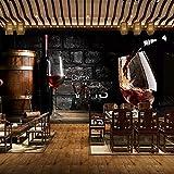 WALXMBZ Wallpaper Hintergrundbild Benutzerdefinierte 3D Wallpaper Europäischen Stil Retro Rotwein Backsteinmauer Hintergrund Wandmalerei Western Restaurant Bar Weingut Dekor Wandbild, L400 * W280Cm