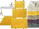 die extra Streicheleinheit für Ihre Füße - Badteppich Motiv Steine - klassisch + modern + universell einsetzbar - erhältlich in 5 topp aktuellen Farben und 3 verschiedenen Größen, 50 x 70 cm, sonne