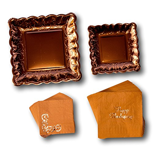 Elegante Thanksgiving Fall Party Pappteller und Servietten Bundle - Party Pack Set enthält Einweg Geschirr Teller - Dessert Teller und Servietten