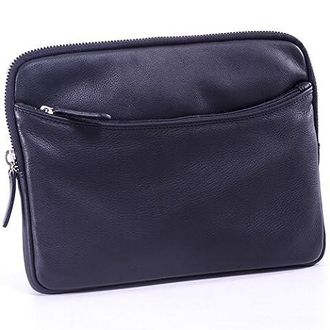 Tablet pc Tasche Etui Case Cover Mappe Hülle Schutzhülle Echt Leder schwarz für 10,1 Zoll bis 11.6 Zoll für Netbook Notebook iPad tablet