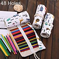 ZD-DZ 48 Slots Cartoon Fauna Print Pen Bag Canvas Pencil Wrap Curtain Roll Up Pencil Case Stationery Pouch