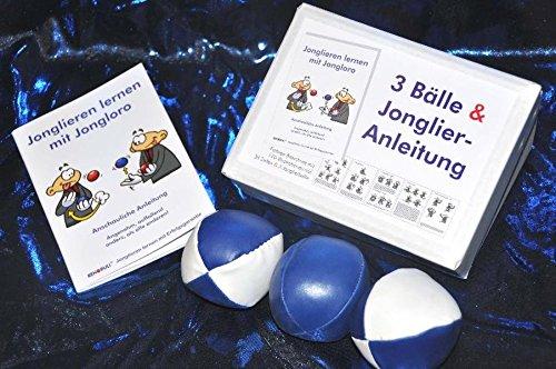 3 Bälle & Jonglier-Anleitung: Kleine Bälle: blau-weiß, blau, blau-weiß (je 51mm/90g)