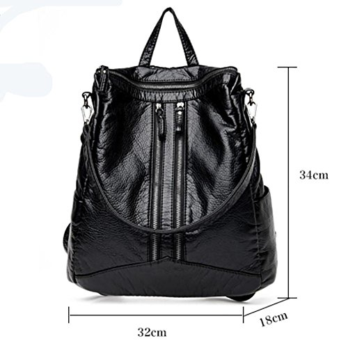 YINGER Damen Leder Rucksack Handtaschen Daypacks Schulter Reisetasche black