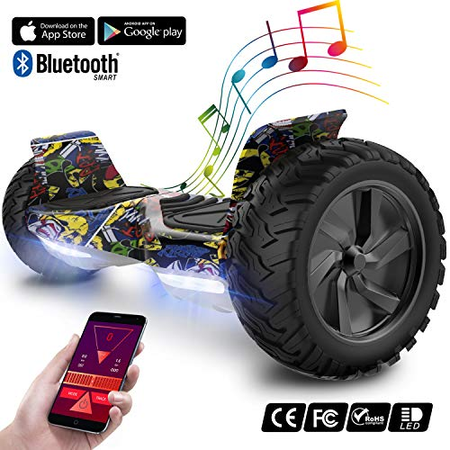 GeekMe Elektroroller All Terrain Self Balancing Scooter mit leistungsstarker LED-Motorbeleuchtung Bluetooth-App für Erwachsene und Kinder 8,5 Zoll