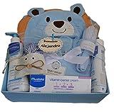 Cesta Bebé Mustela - canastilla Mustela - regalo bebé Mustela: gel de baño + crema bálsamo + loción + set peine y cepillo+ capa-arrullo