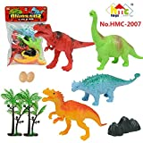 #2: Siddhi Vinayak™ Pre Historic Dinosaurs Animals Figures Set for Kids/Young Ones Pack of 4 Multi Coloured Different Dinosaurs with eggs and stones (Medium Size)