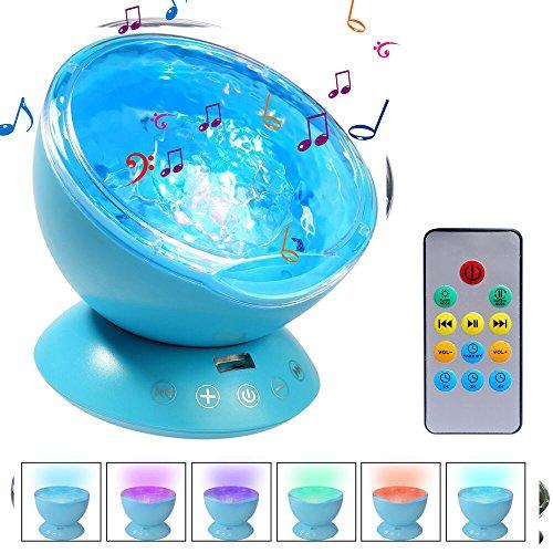 Ifecco Ozean Projektor Lampe, LED Nachtlicht Stimmungslichter mit Musik Lautsprecher /Fernbedienung für Kinder Schlafzimmer Wohnzimmer Party Kindergeburtstag Geschenk (Upgrade blau)