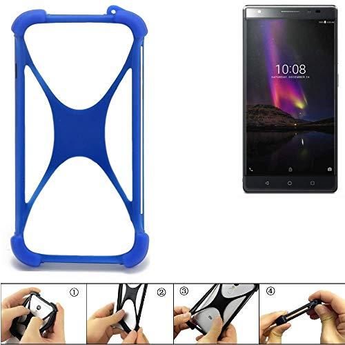 K-S-Trade Bumper Lenovo Phab2 Plus Silikon Schutz Hülle Handyhülle Silikoncase Softcase Cover Case Stoßschutz, blau (1x)