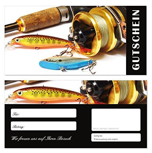 10 Stück Geschenkgutscheine (Angeln-687) Gutscheine Gutscheinkarten für Gastronomie Bereiche wie Restaurant Gaststätte Lieferdienst Fischhandel Anglerbedarf