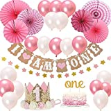 FIRST 1st BIRTHDAY Girl DECORATIONS/Pink Theme Kit Set- Baby Girl 1st Birthday Party, Cake Topper-\