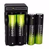 Batterie Lampes Torches,Xinan Rechargeable 5800mAh Li-ion 18650 3.7V Batterie 4 Pièces+Chargeur Unique (Noir, 1 PC)