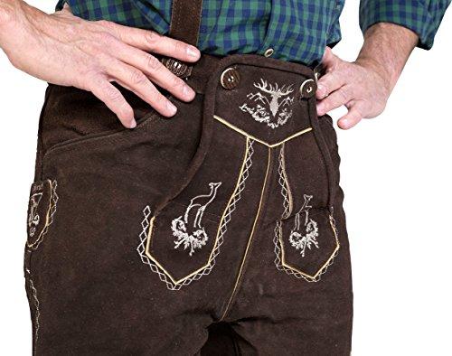 Almwerk Herren Trachten Lederhose kurz Platzhirsch in verschiedenen Farben, Farbe:Braun;Lederhose Größe Herren:46 - 2