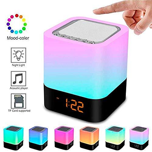 LED Bluetooth Lautsprecher,5 in 1 RGB Uhr Nachtlicht Kabellos Nachttischlampe Touch Dimmbar, Wecker Digital, Freisprechen, MP3-Player, Lautsprecher Boxen Unterstützt TF SD Karte, USB und Bluetooth -