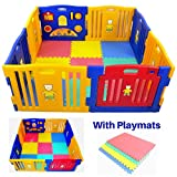 Millhouse Plastic Baby Playpen with Activity Panel with Play Mats Included (XIHE0005)