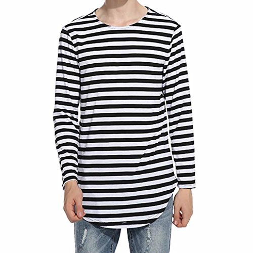 Herren Atmungsaktiv Langarmshirts VENMO Men's Herbst Winter Tops Striped Langarm Bluse Casual t-shirt Herren Langarmshirt O-Ausschnitt Langarm Longsleeve Einfarbig Shirt T-Shirt Hemd Tee (L, Black) (Top Long Striped Sleeve)