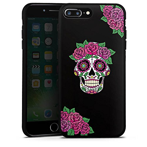 Apple iPhone 6 Plus Silikon Hülle Case Schutzhülle Skull Frauen Totenkopf Blumen Silikon Case schwarz