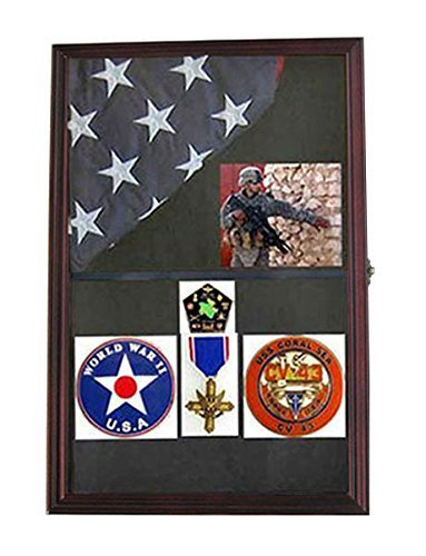 lag Shadow Box Display Case for 3'X5' FLAG (folded), Wall mounted Cabinet, FC09-MAH by Display Gifts Inc. (Flag Display-box)