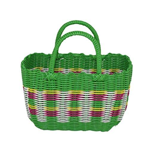 Xuan - worth having Green Handmade Plastic Weaving Hand Basket Bath Le panier Panier Panier pique-nique Anti-corrosion ( taille : 26*12*18cm )