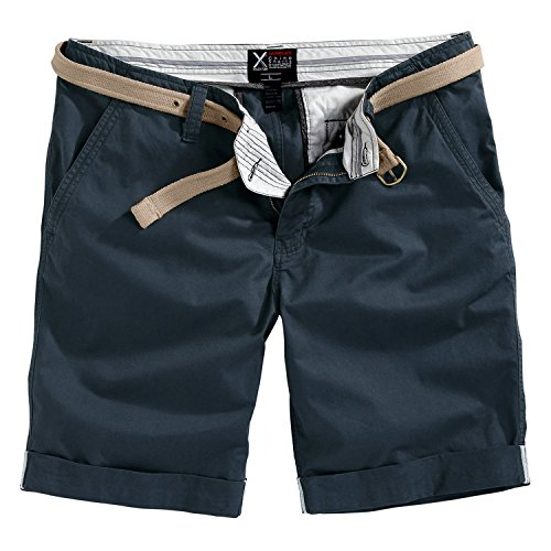 Trooper Herren Chino Shorts Bermuda Kurze Hose, 5 Farben (Navy, L)