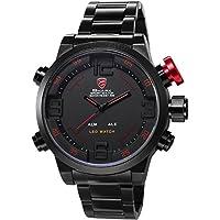 SHARK SH105-Orologio da polso uomo,Acciaio INOX,Digitale LED Datario/Sveglia,Analogico Sport Quarzo,colore:Nero