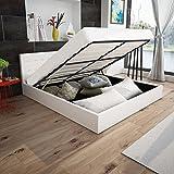 Anself Polsterbett Doppelbett Bett Ehebett aus Kunstleder mit Bettkasten 180x200cm