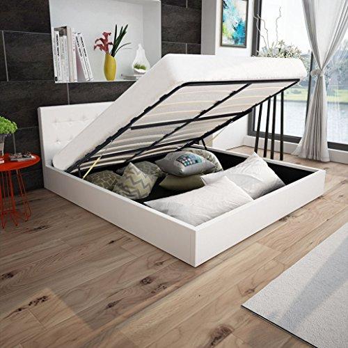 Anself Polsterbett Doppelbett Bett Ehebett aus Kunstleder mit Bettkasten 180x200cm ohne Matratze Weiß
