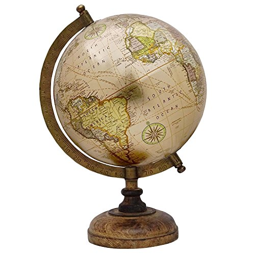 Dekorative Rotating Earth Globe Beige Ocean World Geographie Home Decor 13""