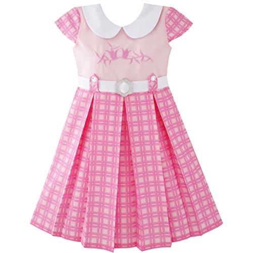 JY38 Sunny Fashion Vestido para niña Rosa Ceñido Colegio Uniforme Plisado Dobladillo 14 años