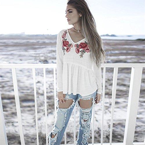 CYBERRY.M T-shirt Blouse Été Femme Manches Longues Rosa Tee Chemise Blouse Blanc