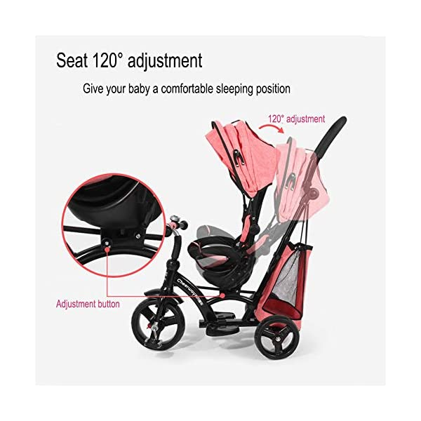 GSDZSY - Baby Tricycle Trike Stroller First Bike,3 In1 With Adjustable Push Handle Bar, 1.5-6 Years Old,Black GSDZSY  4