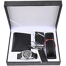 Souarts Herren Geschenkset mit Armbanduhr Geldbörse Gürtel Geschenkset für Herren Schwarz