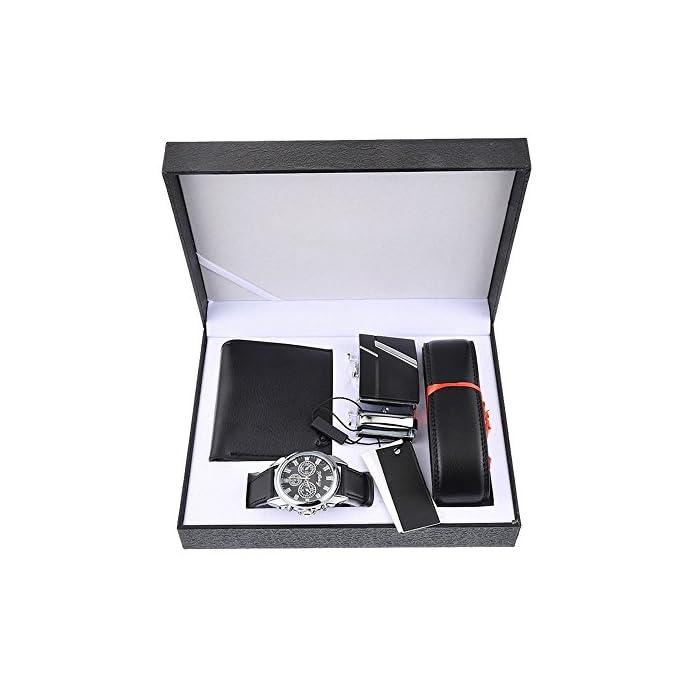 Souarts Herren Geschenkset mit Armbanduhr Männer Geldbörse Gürtel Sonnenbrillen Auto Schlüsselanhänger Geschenk Set für…